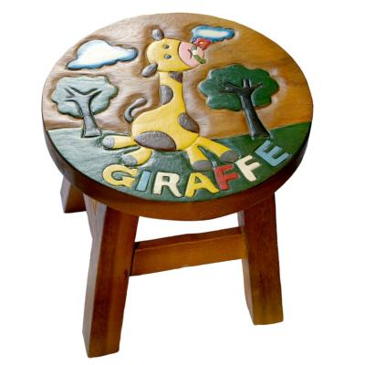 Hand carved child's stool, giraffe