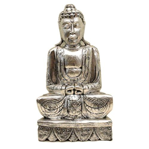 Buddha carved wood, silver colour 51cm height