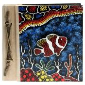 Notebook Aboriginal design fish, 20x20cm