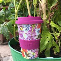 Reusable travel cup, biodegradable, busy bees