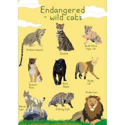 Greetings card Endangered Wildlife Wild Cats 12x17cm