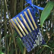 Set of 6 bamboo straws, 1 cleaner in blue cotton pouch
