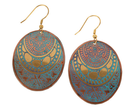 Earrings oval metal, turquoise and gold colour