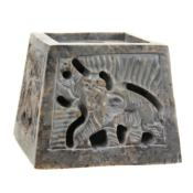 Soapstone incense + candle holder, elephant design