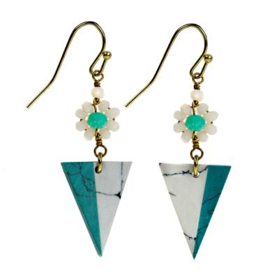 Earrings turquoise triangle