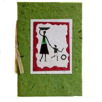 Greetings card, woman + boy, green