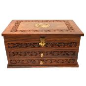 Wooden three drawer brass detail jewellery box
