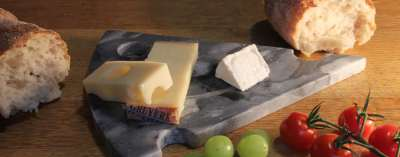 Cheese slice shaped board, grey stone