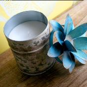 Candle in distressed recycled jar blue flower lotus, Coastal Waters