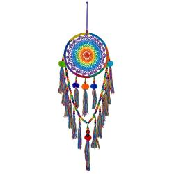 Dreamcatcher rainbow with pompoms & tassels 30cm