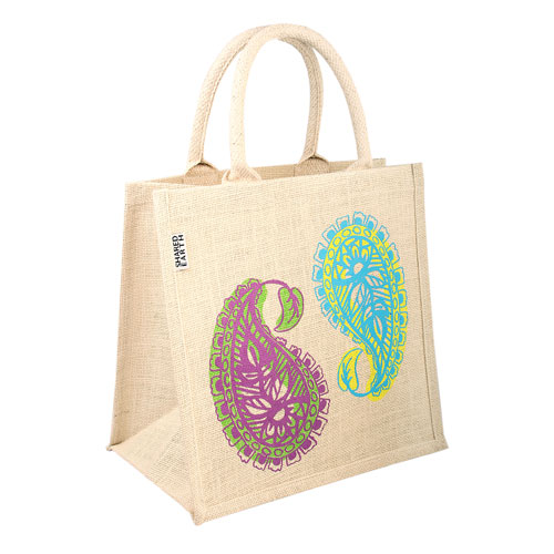 Jute shopping bag, square, paisley design
