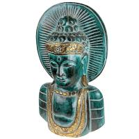 Buddha carved wood green + gold colour 23x40x10cm