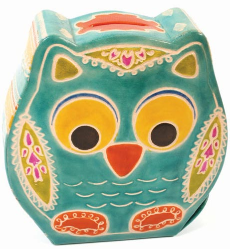 Leather money box owl turquoise