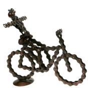 Bike chain model bicycle with cyclist arms out