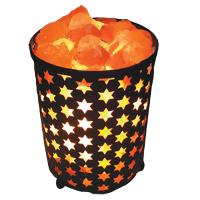 Salt lamp in metal cylinder with cutout stars approx 19x13cm **