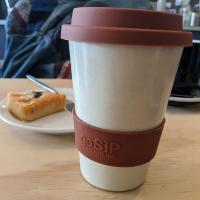Reusable travel cup, biodegradable, vanilla mocha
