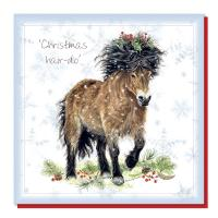 Christmas card, Exmoor pony