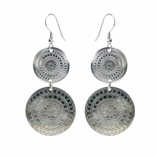 Earrings silver colour, 2 patterned circles