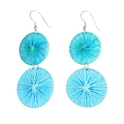 Earrings, 2 circles, turquoise thread