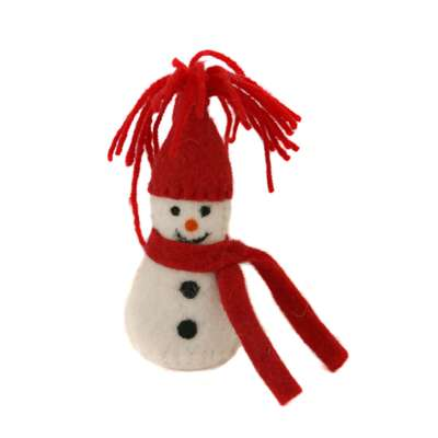 Hanging Christmas decoration, felt snowman red