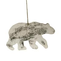 Hanging Christmas decoration, white wood bear
