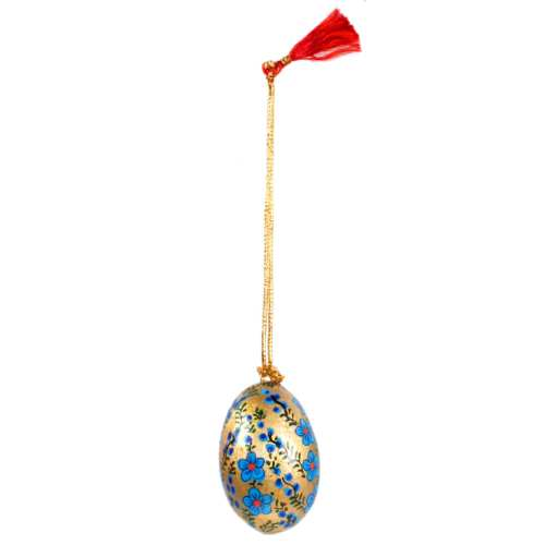Hanging egg decoration, flowers on gold, papier maché, 4.5cm height