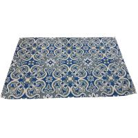 Rug indoor or outdoor, recycled plastic 120 x 180cm blue floral