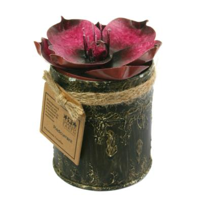 Candle in distressed recycled jar pink flower peony, Redcurrant