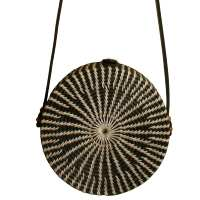 Shoulder bag, rattan, round, faux leather strap, black & white