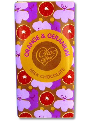 Orange and geranium milk chocolate bar