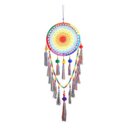 Dreamcatcher, rainbow crochet with pompoms, 32cm diameter