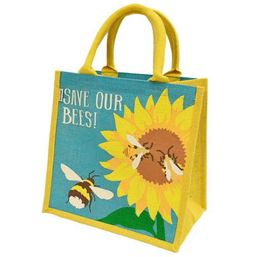Jute shopping bag, bees and sunflower