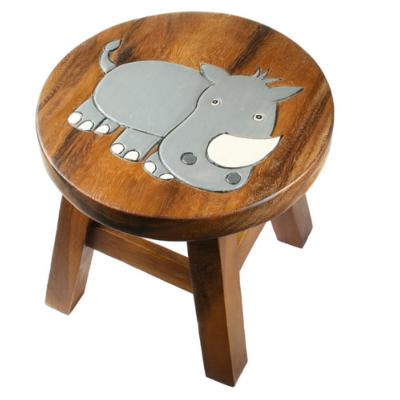 Child's wooden stool, rhinoceros