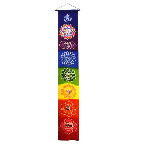 Hanging banner, Chakra symbols on rainbow colours