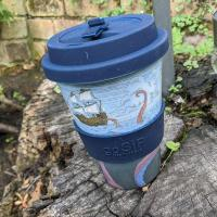 Reusable travel cup, biodegradable, from the depths
