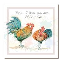 "Greetings card, ""Psst I think ..."", chickens"
