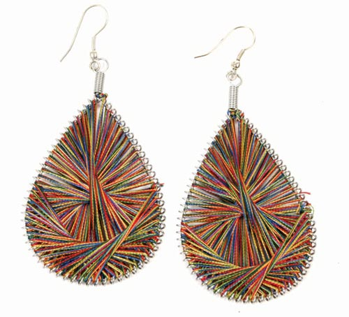 Thread earrings multicoloured drop
