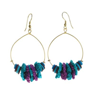 Earrings, hoops, turquoise and purple buttons and cotton flowers