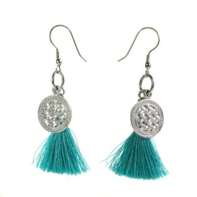 Earrings, silver coloured metal coin with turquoise tassel