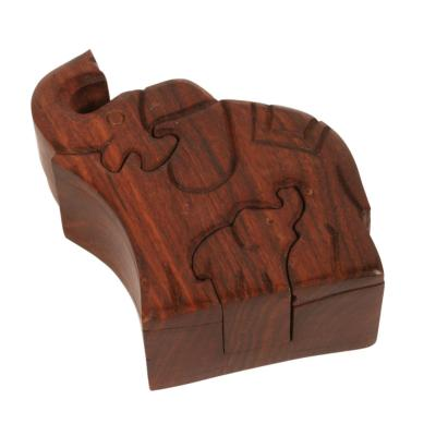 Shesham wood elephants puzzle box