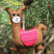 Hanging Christmas decoration, felt llama