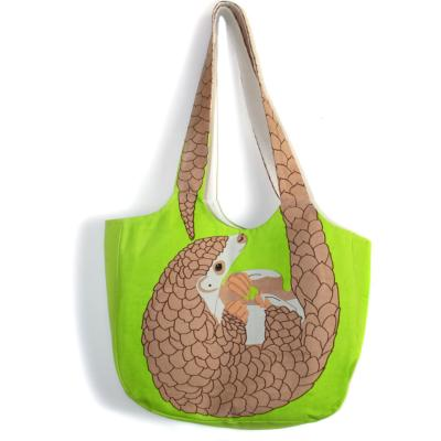 Shoulder bag, cotton, pangolin