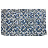 Rug indoor or outdoor, recycled plastic 60 x 100cm blue floral