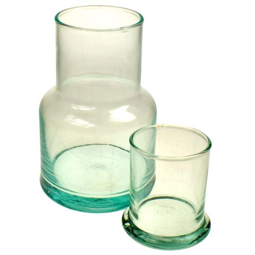 Carafe with lid recycled glass, 15.5cm height