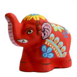 Incense holder, painted clay elephant shape, assorted colours