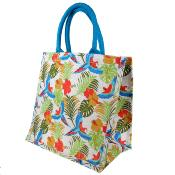 Jute shopping bag, square, tropical forest