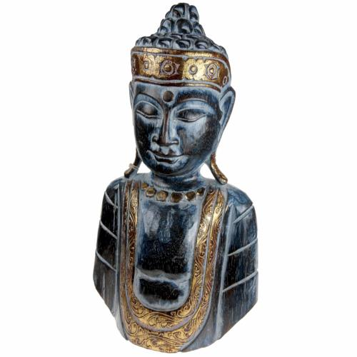 Buddha carved wood blue + gold colour 23x40x10cm