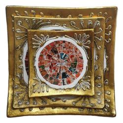 Set of 3 gold coloured plates, red mosaic