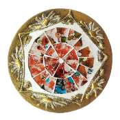 Set of 4 gold coloured round coasters, red mosaic