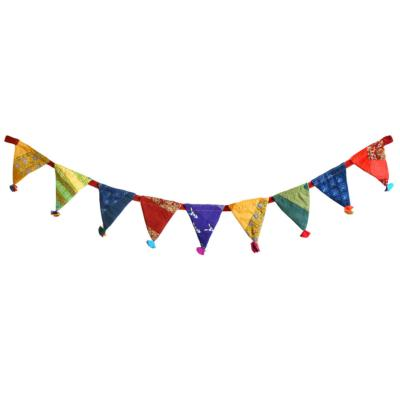 Garden flags/bunting, recycled fabric assorted colours